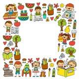 Schule, Kindergartenjungen und Mädchenlesebücher phantasie bibliothek Raum, Reise, Abenteuer stock abbildung