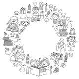 Schule, Kindergartenjungen und Mädchenlesebücher phantasie bibliothek Raum, Reise, Abenteuer vektor abbildung