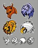 Schule-Maskottchen-Zeichen-Bull-Bären-Löwe-Adler Stockfoto