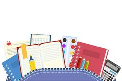 schule Rucksack und Schulfächer für Unterricht und Ausbildung von Schulkindern Auch im corel abgehobenen Betrag stock abbildung