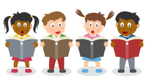 Schule scherzt das Lesen eines Buches lizenzfreie abbildung