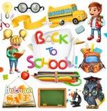 Schule und Ausbildung Zurück zu Schule Drei Farbikonen auf Pappumbauten stock abbildung