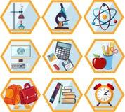 Schule und Ausbildungsikonenset Stockfotos