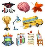 Schule und Bildung, Vektorikonensatz Lizenzfreie Stockfotos