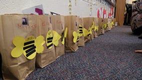 Schule Valentine Bags Lizenzfreie Stockbilder