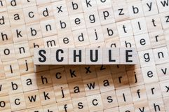 Schule - word School on german language,word concept royalty free stock photography