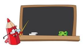 Schulebleistift und -tafel Stockfotos