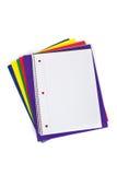 Schulefaltblätter mit einem unbelegten Notizbuch Stockbild