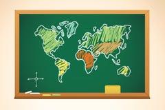 Schulehintergrund mit Geographiekartenzeichnung Lizenzfreies Stockfoto