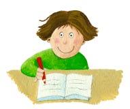 Schulejungensitzen und -schreiben im Notizbuch lizenzfreie abbildung