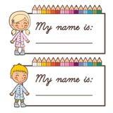 Schulekursteilnehmer-Namenskarten Stockfotos