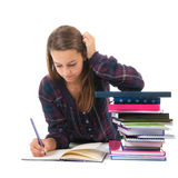Schulemädchen mit Büchern Stockfoto