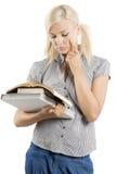 Schulemädchen mit Buch Lizenzfreie Stockbilder