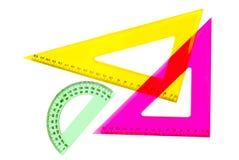 Schulemathe/technische Zeichnungsinstrumente Lizenzfreies Stockbild