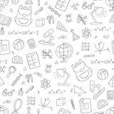 Schulen Sie nahtloses Muster in der Gekritzel- und Karikaturart linear Rebecca 6 Vektor Lizenzfreies Stockbild