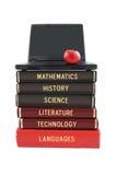 Schulfachbücher und -laptop Stockfotografie