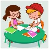 Schulfreunde, die Hausarbeit tun stock abbildung