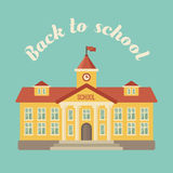 Schulgebäude auf blauem Hintergrund Stockfoto