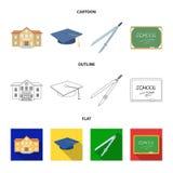 Schulgebäude, College mit Fenstern, ein Meister oder Bewerberhut, Kompassse für einen Kreis, ein Brett mit einer Kreideschule Stockfoto