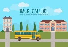 Schulgebäude und Schulgelber Bus stock abbildung