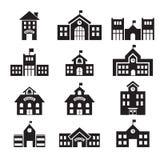 Schulgebäudeikone Stockbilder