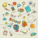Schulgekritzel auf Notizbuchseiten-Vektorhintergrund Stockbild