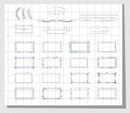 Schulhand gezeichnete Rahmen Stockfotos