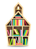Schulhaus mit bunten Büchern Stockfotografie