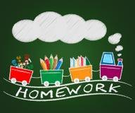 Schulhausarbeit bedeutet Training und das Lernen der Illustration 3d Lizenzfreies Stockfoto