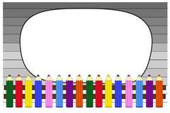Schulhintergrund mit Holz, Bleistiften und Platz für Text Lizenzfreies Stockbild