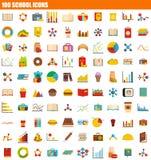 100 Schulikonensatz, flache Art lizenzfreie abbildung