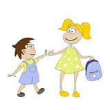 Schulkinder auf dem Weg zur Schule stock abbildung