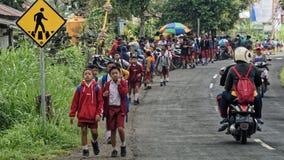 Schulkinder auf Straße, Bali, Indonesien lizenzfreies stockfoto