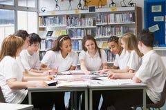 Schulkinder, die in der Schulebibliothek studieren Stockbilder