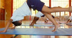 Schulkinder, die Yoga auf einer ?bungsmatte in der Schule 4k durchf?hren stock video footage