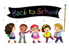 Schulkinder, die zurück zu Schulfahne halten lizenzfreie abbildung