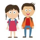 Schulkinder, ein Junge und Mädchenkinder Stockfotos
