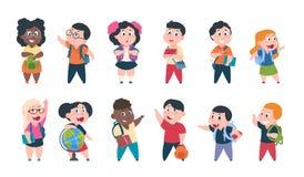 Schulkinder Karikaturkinder mit B?chern und Schulbedarf, gl?ckliche nette Jungen und M?dchensch?lercharaktere Vektorstudie lizenzfreie abbildung