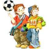 Schulkinder und zurück zu Schulhintergrund für Feieraquarellillustration Stockbild