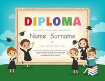 Schulkinderdiplomzertifikat-Designschablone Lizenzfreie Stockbilder
