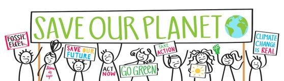 Schulkinderprotestierender, Klimawandel, Abwehr unser Planet vektor abbildung