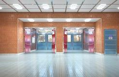 Schulkorridor-Innenraumausgang lizenzfreies stockbild