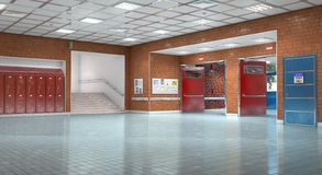 Schulkorridor-Innenraumausgang lizenzfreies stockfoto