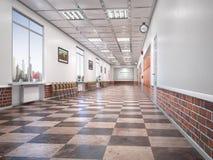 Schulkorridorinnenraum lizenzfreie stockbilder