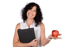 Schullehrer mit einem Apfel Stockfotos