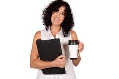 Schullehrer mit Kaffeetasse Stockfotografie