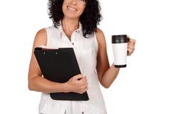 Schullehrer mit Kaffeetasse Stockfotos