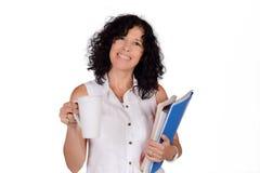 Schullehrer mit Kaffeetasse Lizenzfreies Stockfoto
