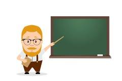 Schullehrer, Professor mit Zeiger nahe dem Brett Flaches Bild Stockbild