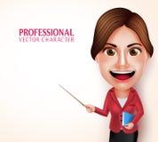 Schullehrer Vector Character Smiling, das Bücher beim Unterrichten von Lektionen hält Lizenzfreie Stockfotos